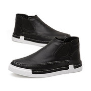 Men British Style Elastic Panels Portable Slip On Casual Ankle Boots