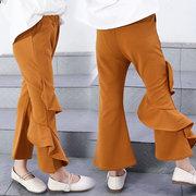 Pantalon évasé en patchwork de couleur unie pour fille élégante pour 4Y-15Y