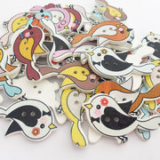 100Pcs Wooden Buttons Washable Bird Shaped Sewing Buttons DIY Handcraft Materials