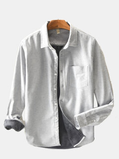 Mens Classic Fashion Breathable Cotton Linen Long Sleeve Single-breasted Loose Casual Shirt