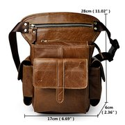 Vintage Genuine Leather Mobile Phone Camera Outdoor 11 Inches Leg Bag Waist Bag