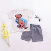 2Pcs Cartoon Print Boys Clothing Set Toddlers Kids Cotton T-shirt + Shorts For 1Y-9Y