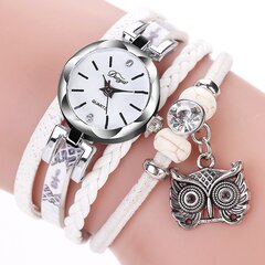 Bohemian Style Cute Owl Pendant Leather Bracelet Watch Trendy Multilayer Wrist Watches for Women