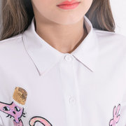 Cute Cat Pattern Girls Turn-Down Collar Mesh Patch Shirt Dress For 6Y-15Y