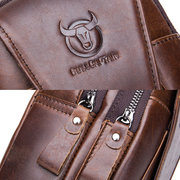 Bullcaptain Vintage Genuine Leather Large Capacity Chest Bag Sling Bag Crossbody Bag For Men