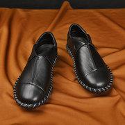الرجال اليد خياطة الجلود عدم الانزلاق الانزلاق على أحذية القيادة لينة عارضة