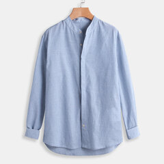 Mens Cotton Striped Long Sleeve Henry Collar Loose Fit Casual Shirt