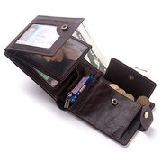 Men RFID 7 Cards Coin Purse Casual Genuine Leather Wallet