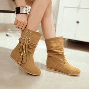 Large Size Tassel Button Heel Increasing Boots