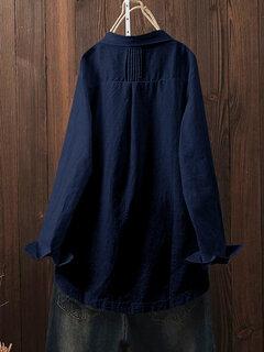 Vintage Solid Color Irregular Button Lapel Plus Size Shirt