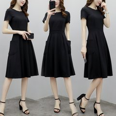 Elastic Waisted Solid Color Short Sleeve Casual Dresses