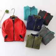 Casual Fleece Boys Girls Stand Collar Zipper Coat For 3Y-11Y
