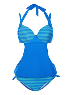 Sexy Striped Lined Up Cut Out Patchwork Tankinis Bowknot Swimming Suit