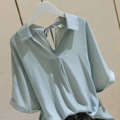 Camicia con scollo a V Donna New Season White Heart Machine Top Design Camicia a maniche corte a maniche corte