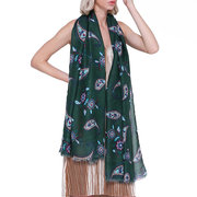 Womens Vogue Vintage Cotton Linen Floral Breathable Warm Scarf 180*90cm Oversize Shawl