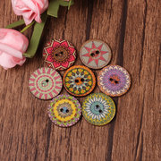 100Pcs Retro Flower Round Bohemian Wooden Buttons 20/25mm Decoration Sewing Butoons