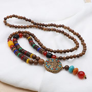 Ethnic Wood Beaded Necklaces Vintage Long Charm Necklaces for Women Sustainable Fashion