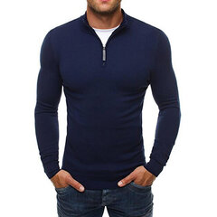 Mens Cotton Brief Casual Solid Slim Fit Zip Up Knit Sweater