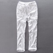 Mens 100% Cotton Brief Solid Color Loose Fit Drawstring Casual Straight Pants