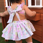 Flower Printed Baby Girls Backless Party Dress For 0-24M