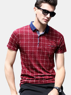 Mens Spring Summer Breathable Plaid Printed Short Sleeve Business Casual Golf Shirt