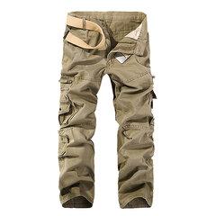 Pantalones cargo de algodón de color puro con multi-bolsillos para hombres