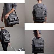 Men Handbag Casual Multifunction Backpack Solid Crossbody Bag