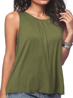 Pure Color Basic Casual Tank Top for Women