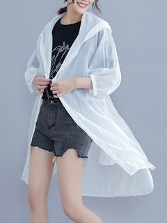 Casual Solid Color 3/4 Sleeve Hooded Kimono for Women
