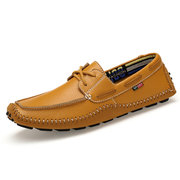 Large Size Genuine Leather Stitching Moccasins Casual Driving Shoes For Men
