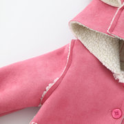 Carino Orecchio Hooded Girls Fleece Warm Winter Coat per 0-24 mesi