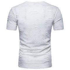 Mens Elegante Buracos Cor Sólida Com Decote Em V Manga Curta Slim Fit Verão Casual T-shirts