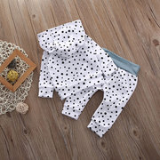 2шт Polka Dot Unisex Kids Long Hoodies + Pant Clothing Set для 0-24M