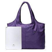 Women Nylon Handbag Solid Tote Bag Multipocket Shopping Bag