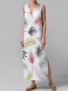 بوهيمية طباعة الخامس الرقبة بلا أكمام Plus حجم فستان ماكسي
