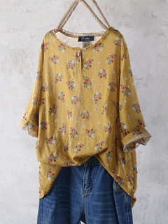 Vintage Flower Printed Long Sleeve Blouse For Women