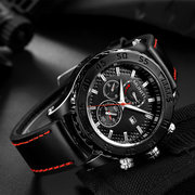 MUNITI Waterproof Luminous Military Watches Calendar Leather Mens Watches Quartz Male Clock