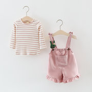 Girls Clothing Sets Striped Tops + Suspender Pants For 1Y-5Y