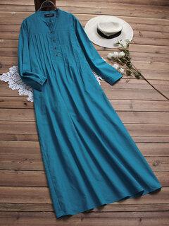 Vestido de algodão cor sólida plissado vintage Camisa