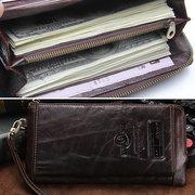 Pochette multi-fonctionnelle en cuir véritable du style business à porte-téléphone portefeuille long pour homme