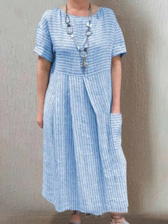 Casual Striped Pocket Crew Neck Dress for Women