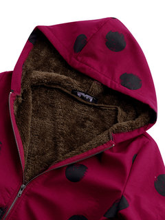 Polka Dot Print Hooded Pockets Vintage Coats