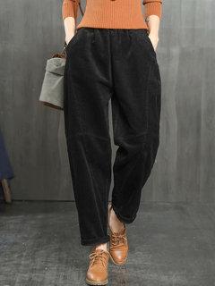 Corduroy Solid Color Pockets Loose Plus Size Pants