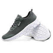 Mens Mesh Breathable Running Shoes  Soft Lace Up Sneakers
