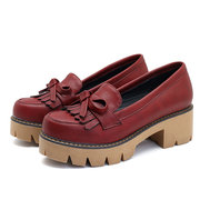 Extra Size Oxford Leather Comfortable Shoes Tassels Flat Loafers For Women