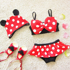 Cute Dot Printed Infant Toddler Girls Bikini Set with Hat For Girls 1-5 Years