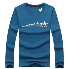 Plus Size Casual Cotton Camel Printing O-Neck Long Sleeve T-Shirt For Men