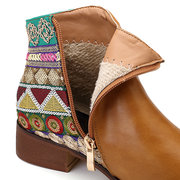 Large Size Splicing Sequined Stylish Warm Women Block Ankle Boots