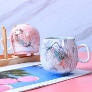 Creative Couple Water Mug Ins Marbled Ceramic Cup Flamingo Unicorn Pattern Coffee Cup