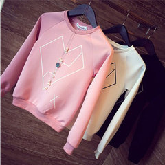Printed solid color casual loose long-sleeved sweater